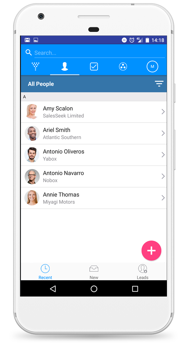 Mobile CRM Contacts